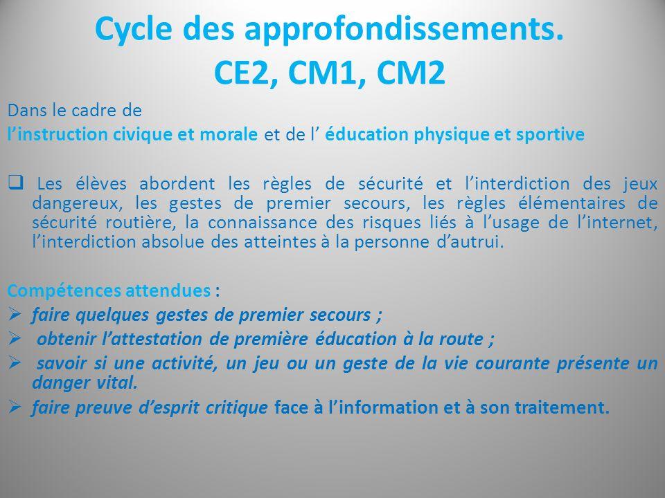 Cycle des approfondissements. CE2, CM1, CM2