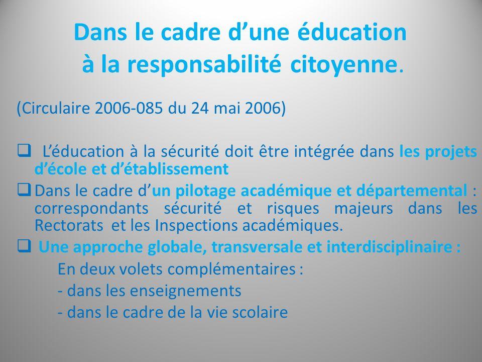 Dans le cadre d'une éducation à la responsabilité citoyenne.