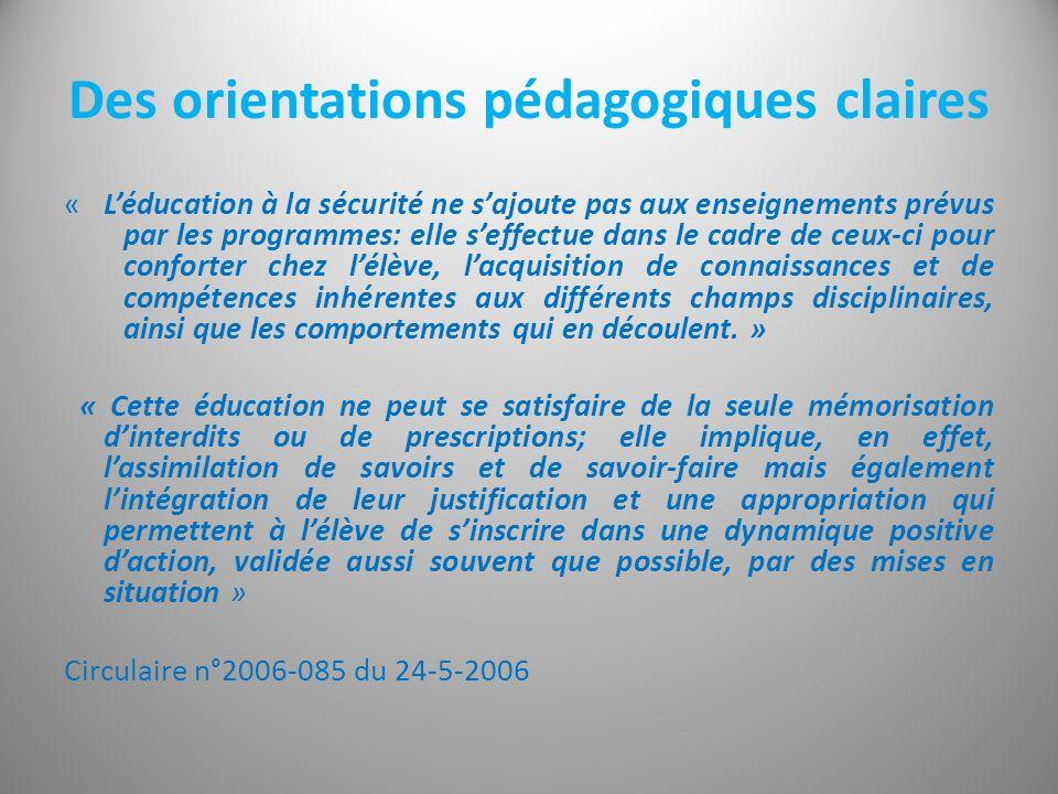 Des orientations pédagogiques claires