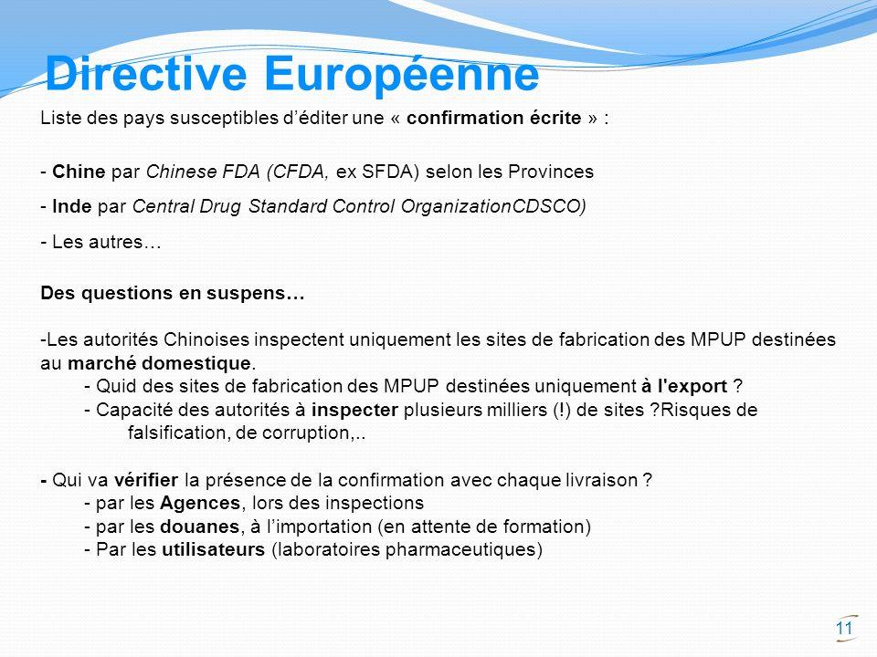 Directive Européenne Liste des pays susceptibles d'éditer une « confirmation écrite » : - Chine par Chinese FDA (CFDA, ex SFDA) selon les Provinces.