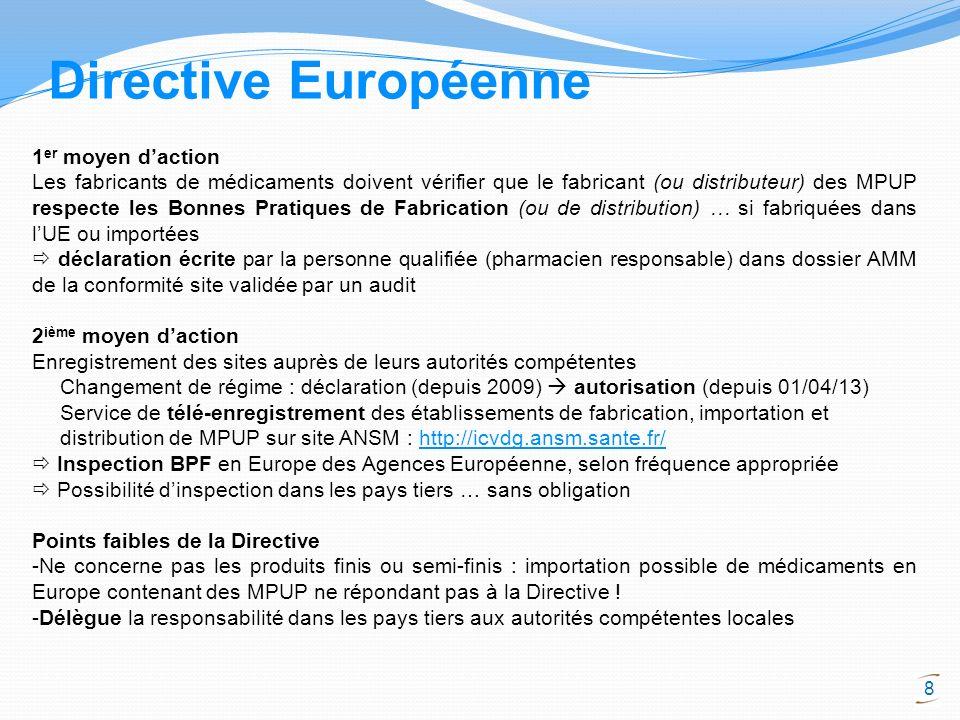 Directive Européenne 1er moyen d'action