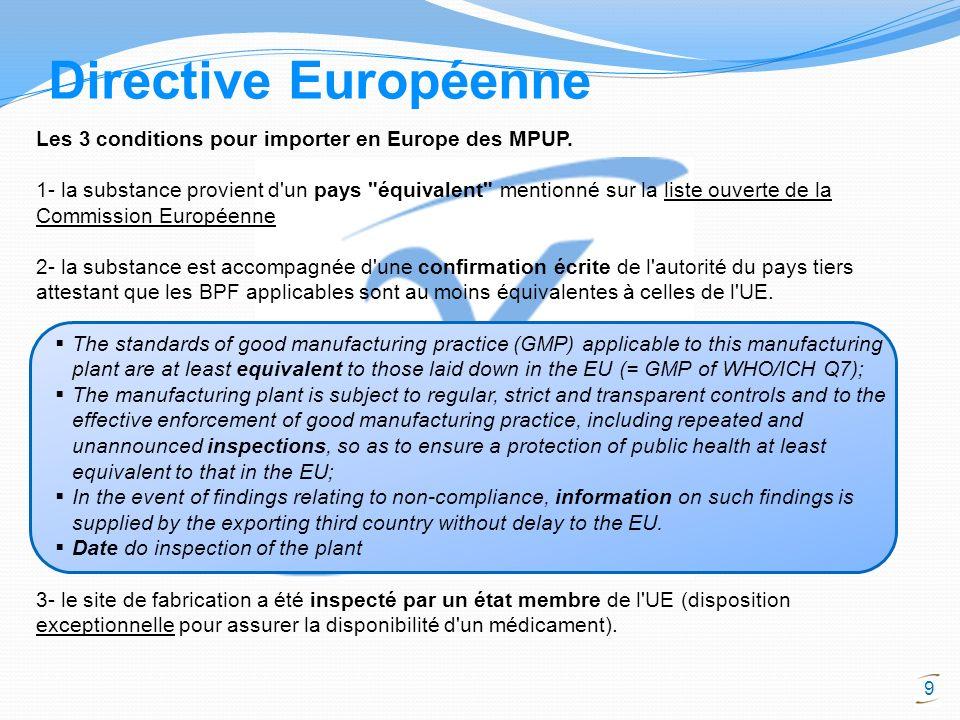 Directive Européenne Les 3 conditions pour importer en Europe des MPUP.