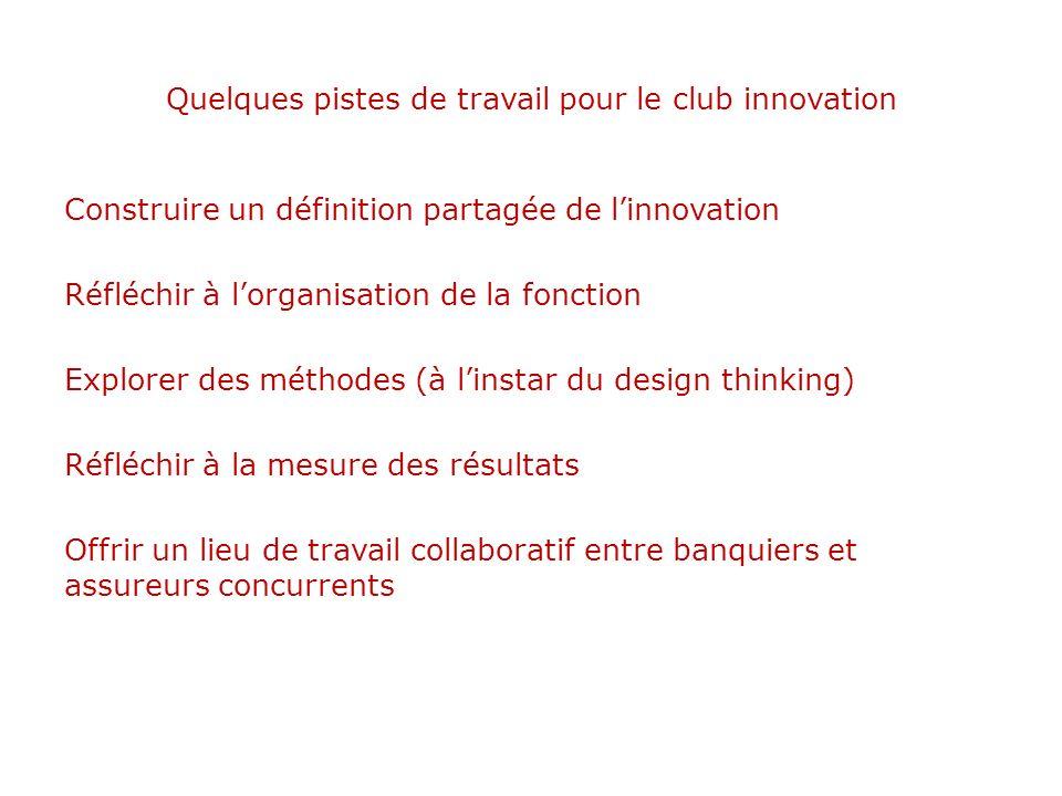 Quelques pistes de travail pour le club innovation