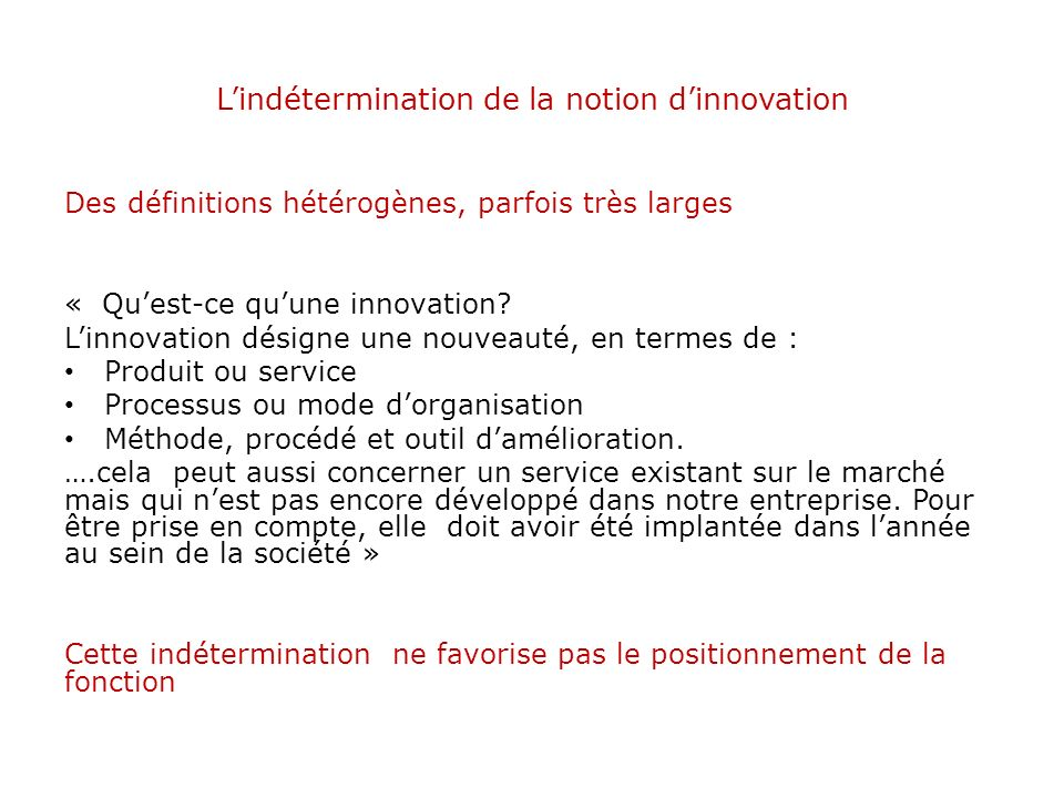 L'indétermination de la notion d'innovation