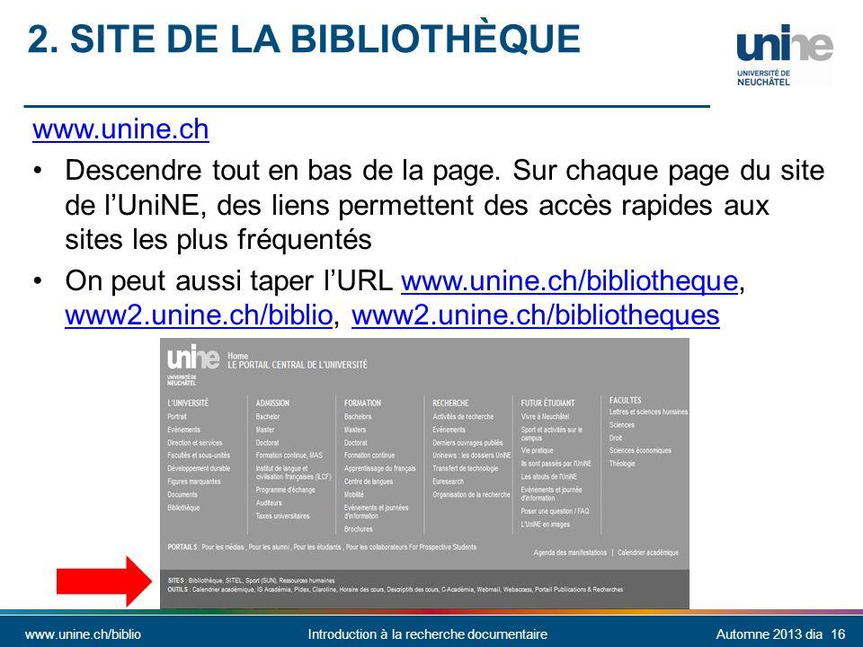 2. Site de la bibliothèque