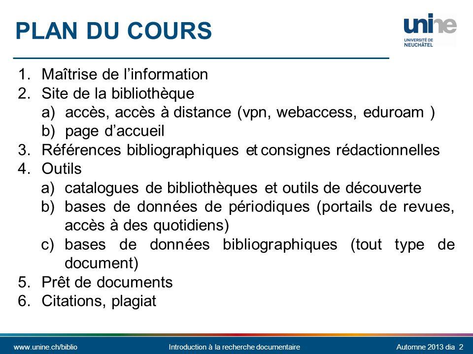 Plan du cours Maîtrise de l'information Site de la bibliothèque