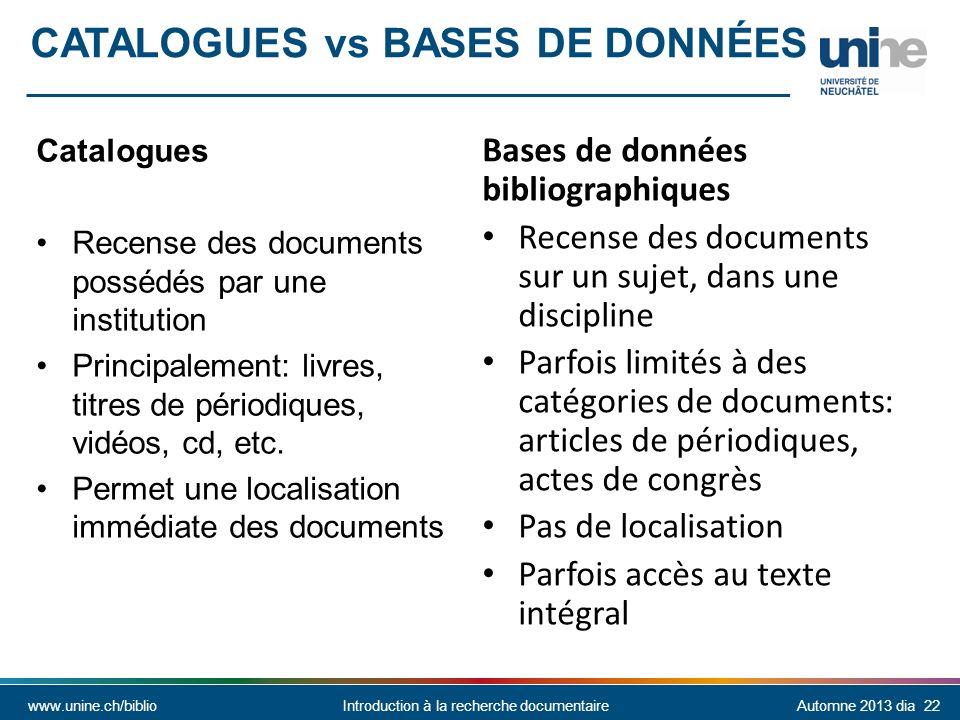 Catalogues vs bases de Données