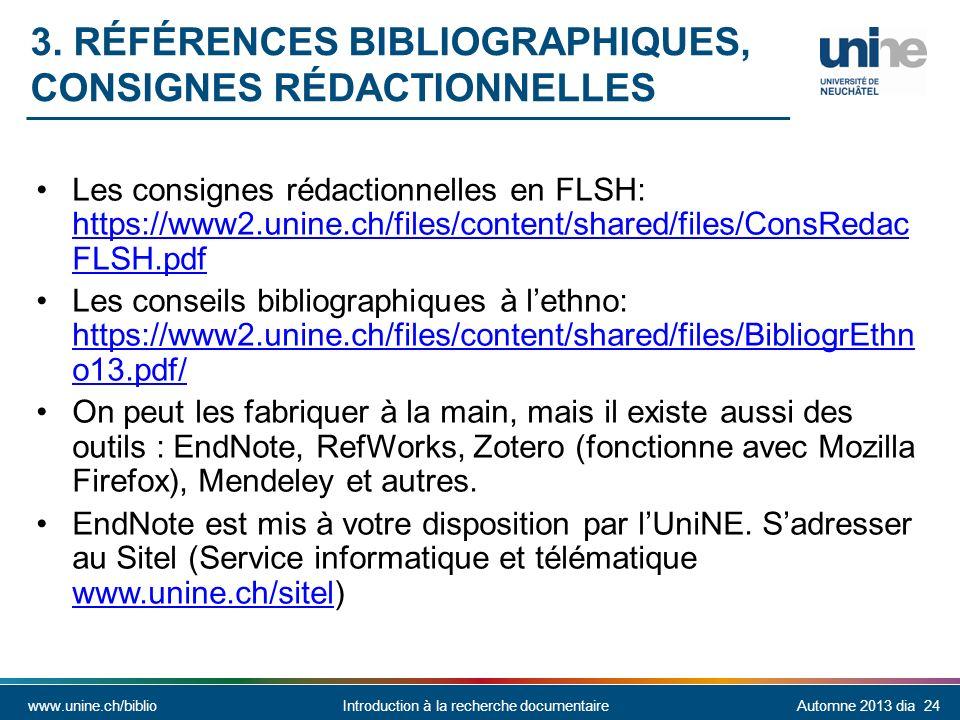 3. Références bibliographiques, consignes rédactionnelles