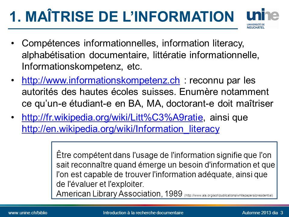 1. Maîtrise de l'information