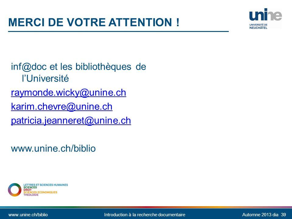 inf@doc et les bibliothèques de l'Université