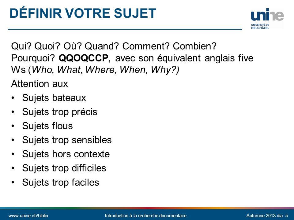 Définir votre sujet Qui Quoi Où Quand Comment Combien Pourquoi QQOQCCP, avec son équivalent anglais five Ws (Who, What, Where, When, Why )