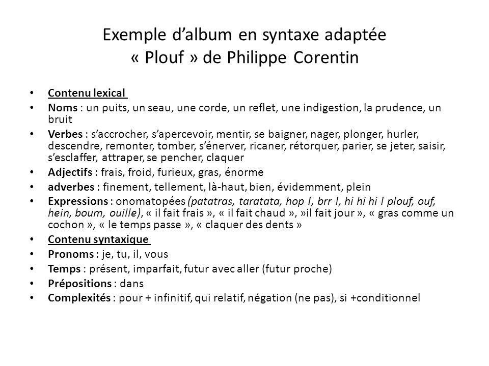 Exemple d'album en syntaxe adaptée « Plouf » de Philippe Corentin