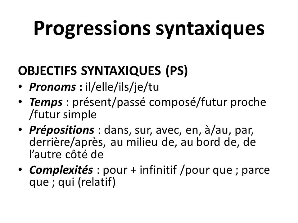 Progressions syntaxiques