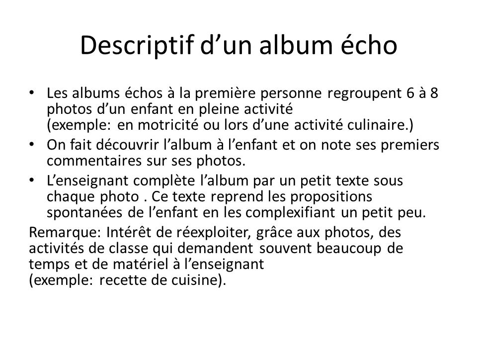 Descriptif d'un album écho