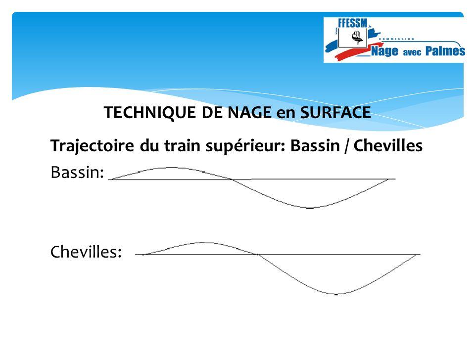TECHNIQUE DE NAGE en SURFACE Trajectoire du train supérieur: Bassin / Chevilles Bassin: Chevilles: