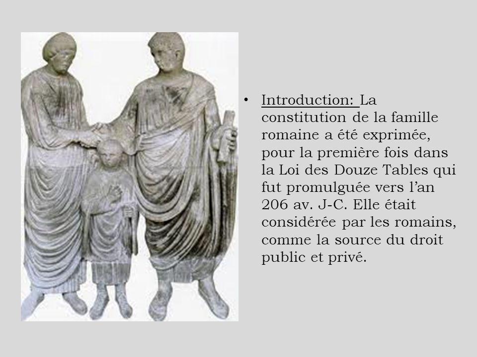Introduction: La constitution de la famille romaine a été exprimée, pour la première fois dans la Loi des Douze Tables qui fut promulguée vers l'an 206 av.