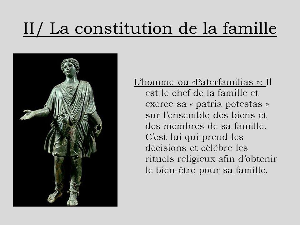II/ La constitution de la famille