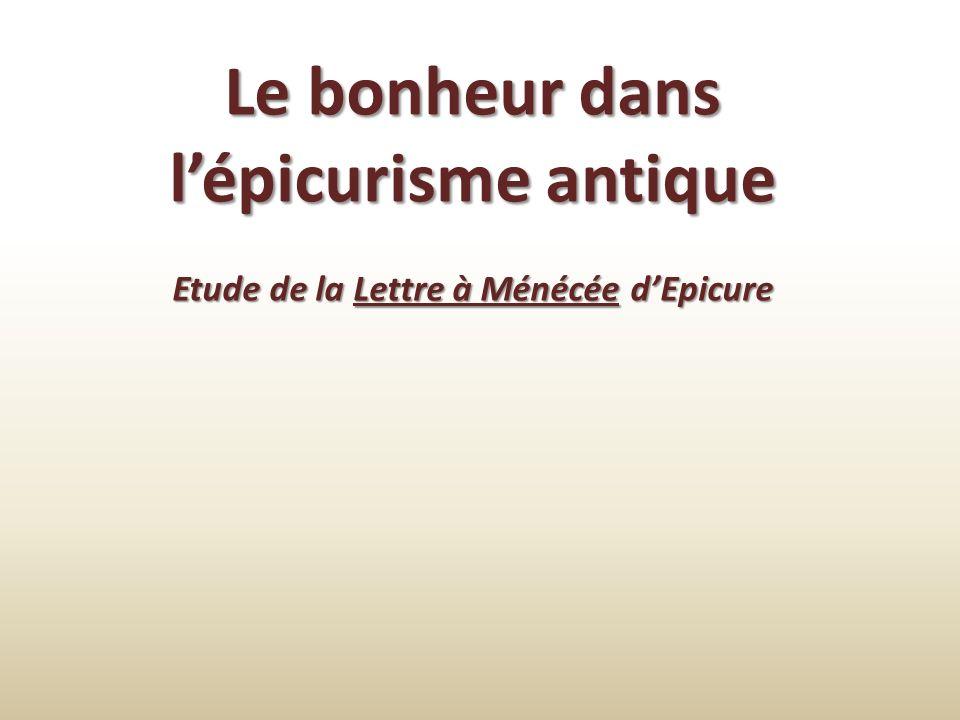 Le bonheur dans l'épicurisme antique