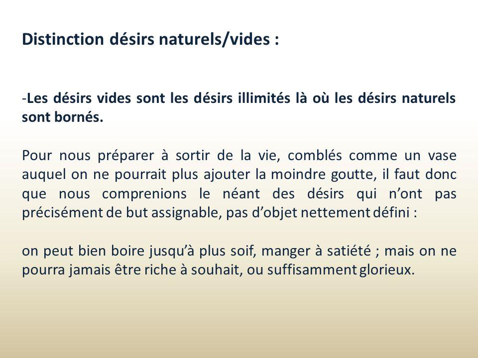 Distinction désirs naturels/vides :