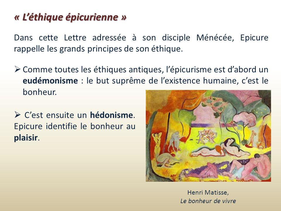 « L'éthique épicurienne »