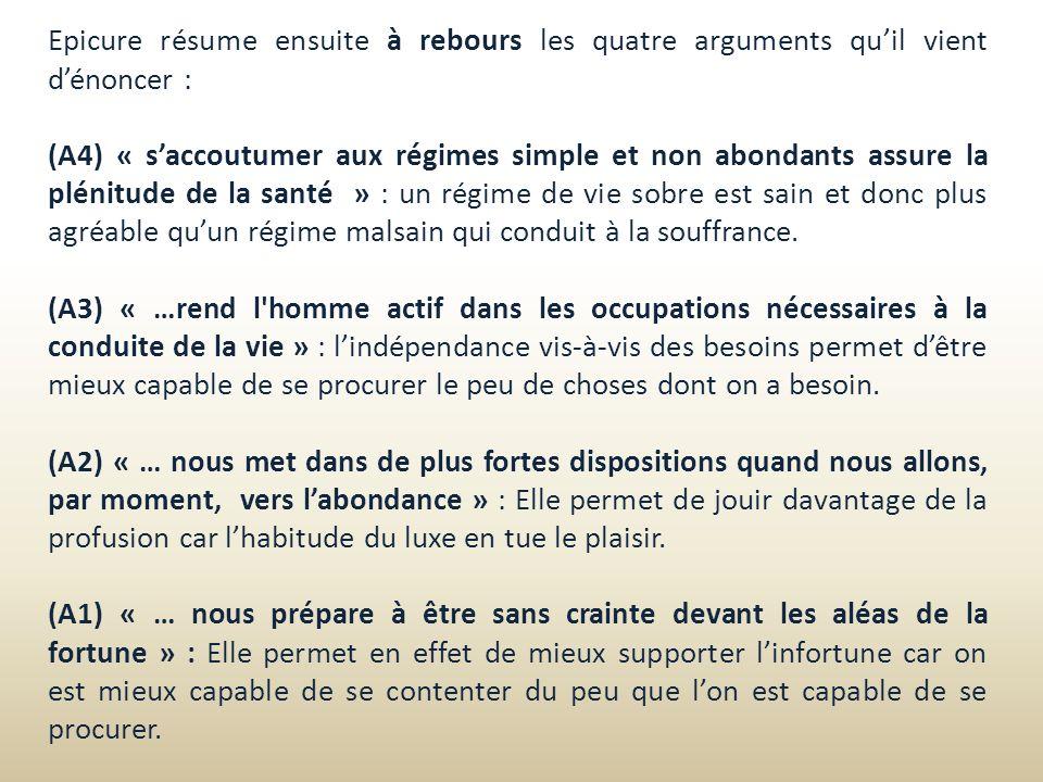Epicure résume ensuite à rebours les quatre arguments qu'il vient d'énoncer :
