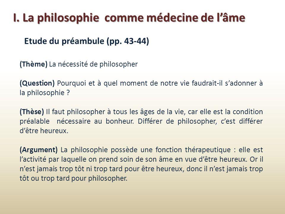 I. La philosophie comme médecine de l'âme