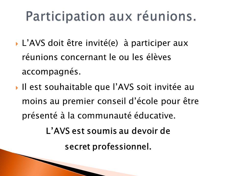 Participation aux réunions.