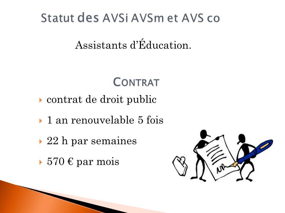 Statut des AVSi AVSm et AVS co