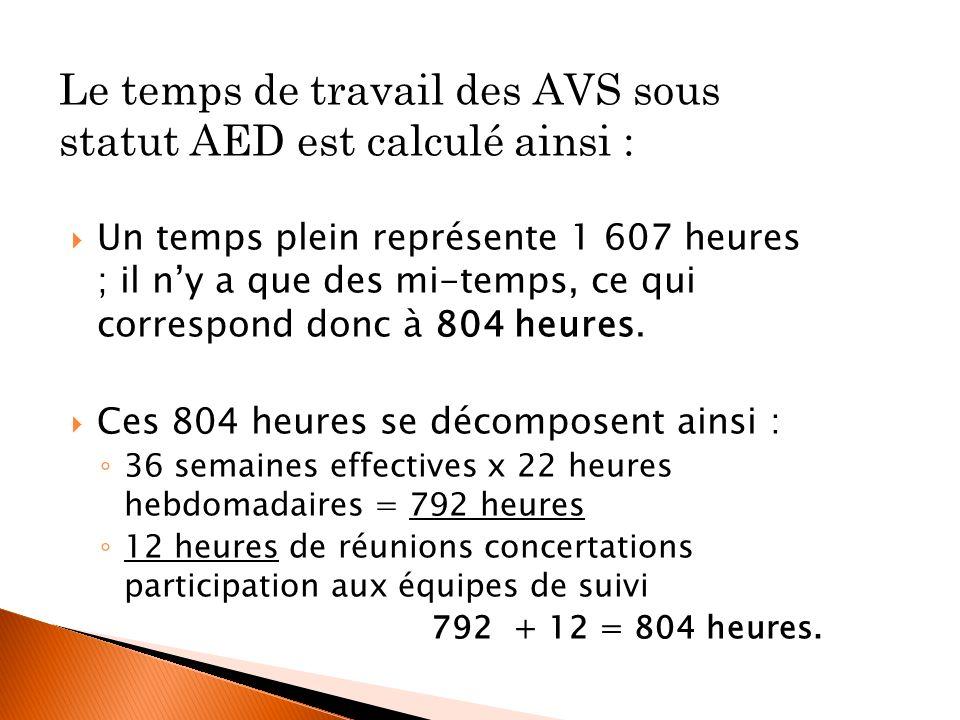 Le temps de travail des AVS sous statut AED est calculé ainsi :