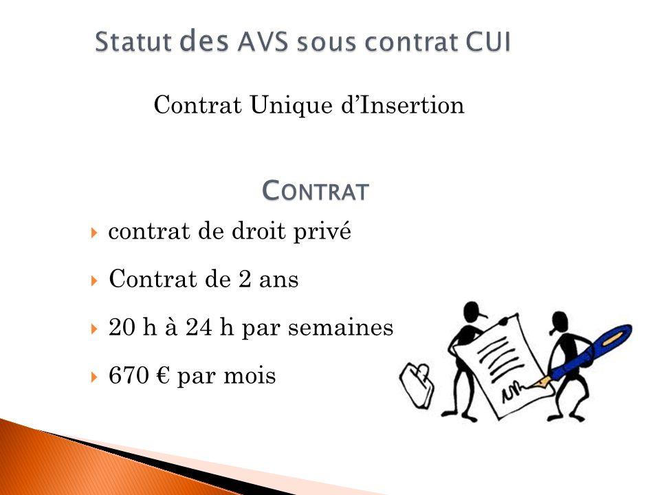 Statut des AVS sous contrat CUI