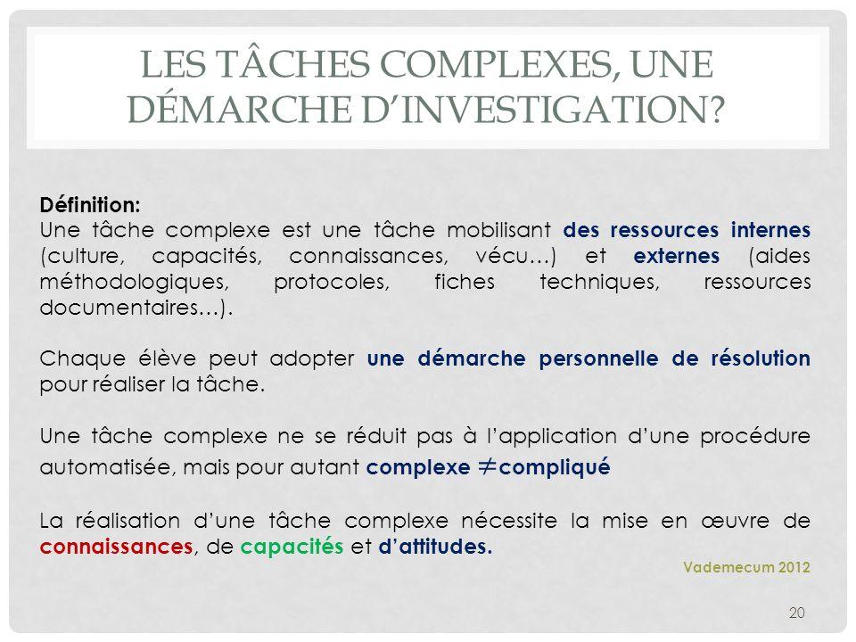Les tâches complexes, une démarche d'investigation