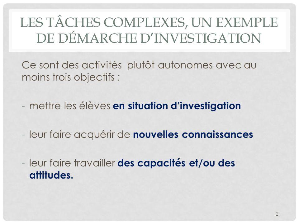 Les tâches complexes, un exemple de démarche d'investigation
