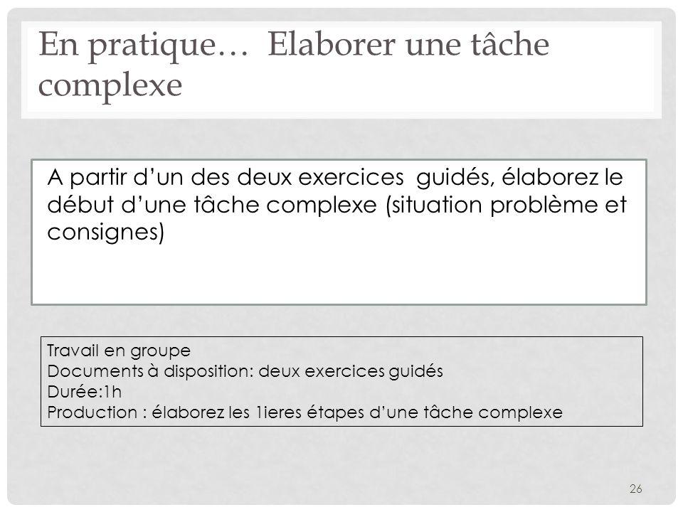 En pratique… Elaborer une tâche complexe