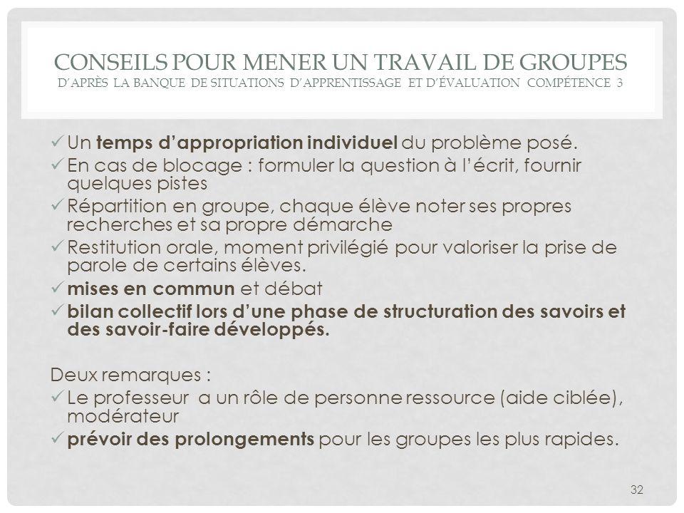 Conseils pour mener un travail de groupes D'après la Banque de situations d'apprentissage et d'évaluation compétence 3