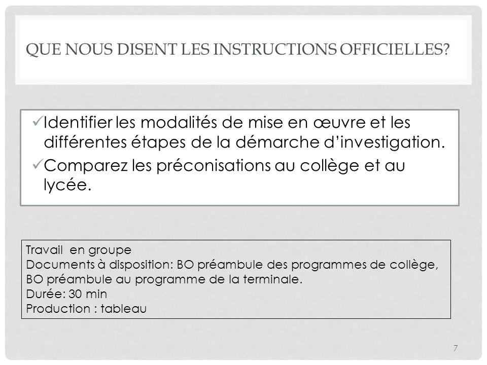 Que nous disent les instructions officielles