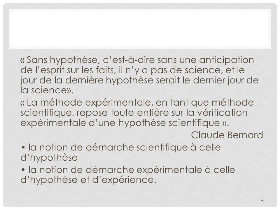 « Sans hypothèse, c'est-à-dire sans une anticipation de l'esprit sur les faits, il n'y a pas de science, et le jour de la dernière hypothèse serait le dernier jour de la science».