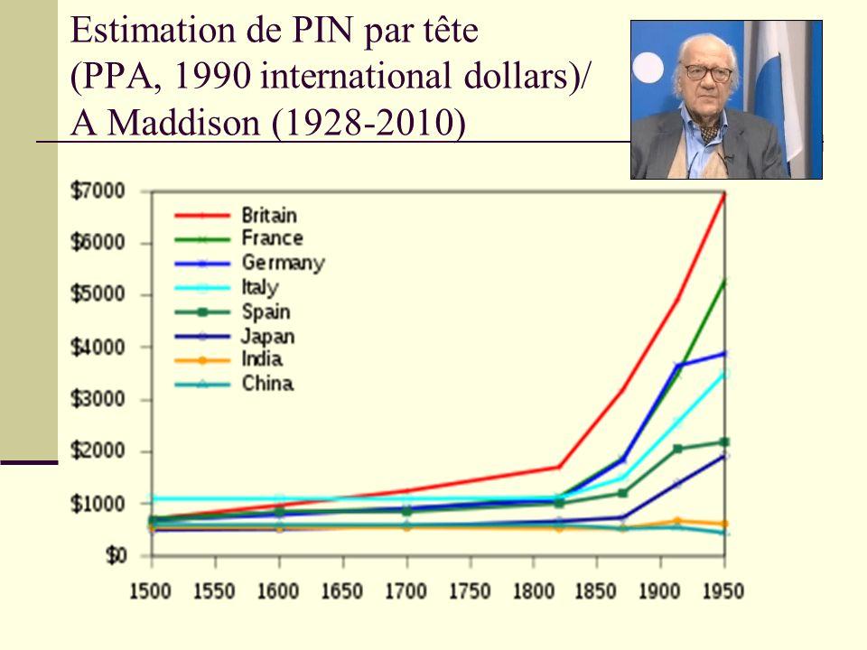Estimation de PIN par tête (PPA, 1990 international dollars)/ A Maddison (1928-2010)