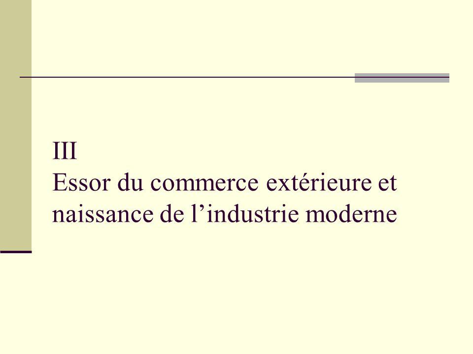 III Essor du commerce extérieure et naissance de l'industrie moderne