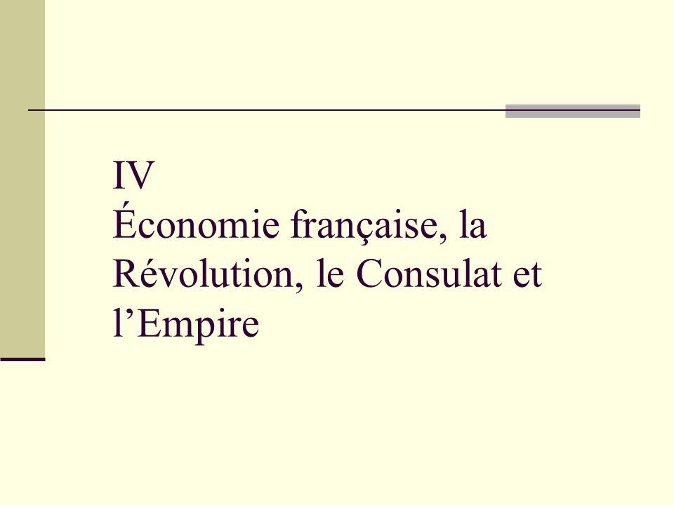 IV Économie française, la Révolution, le Consulat et l'Empire