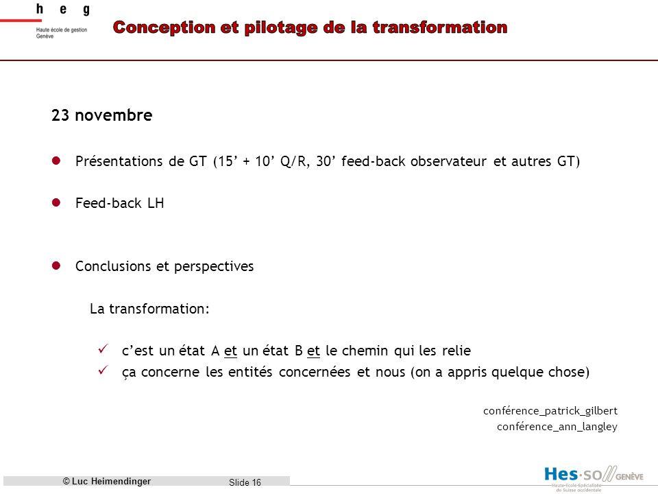 23 novembre Présentations de GT (15' + 10' Q/R, 30' feed-back observateur et autres GT) Feed-back LH.