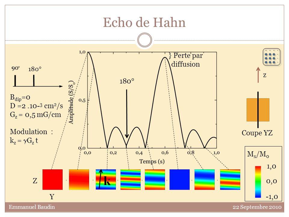 Echo de Hahn } Perte par diffusion z 180° Bdip=0 D =2 .10-3 cm2/s