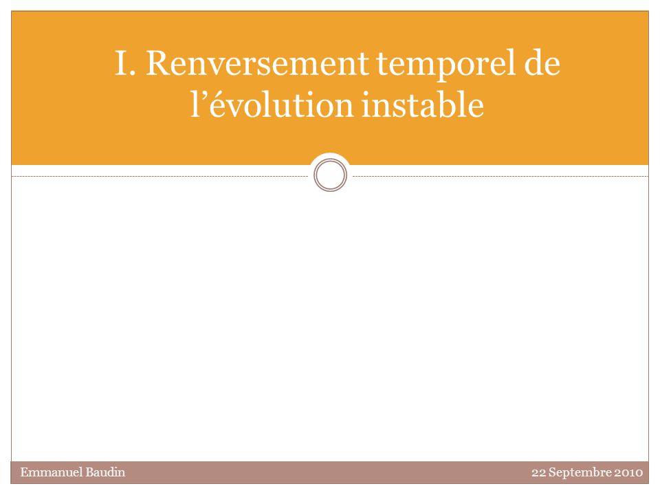 I. Renversement temporel de l'évolution instable