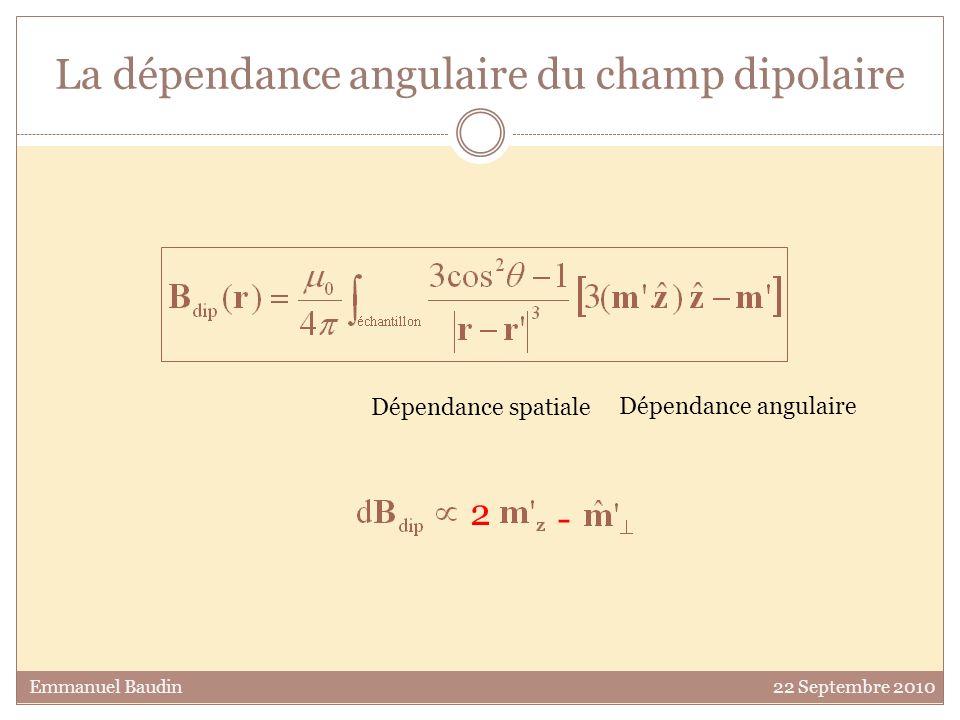 La dépendance angulaire du champ dipolaire