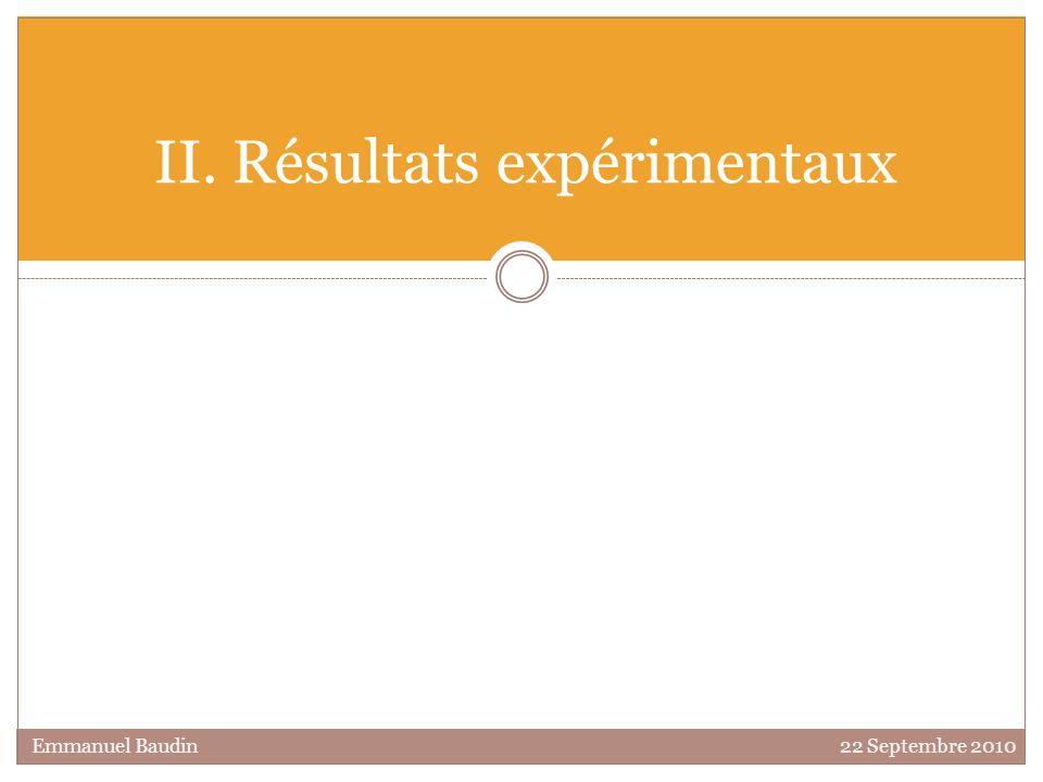 II. Résultats expérimentaux