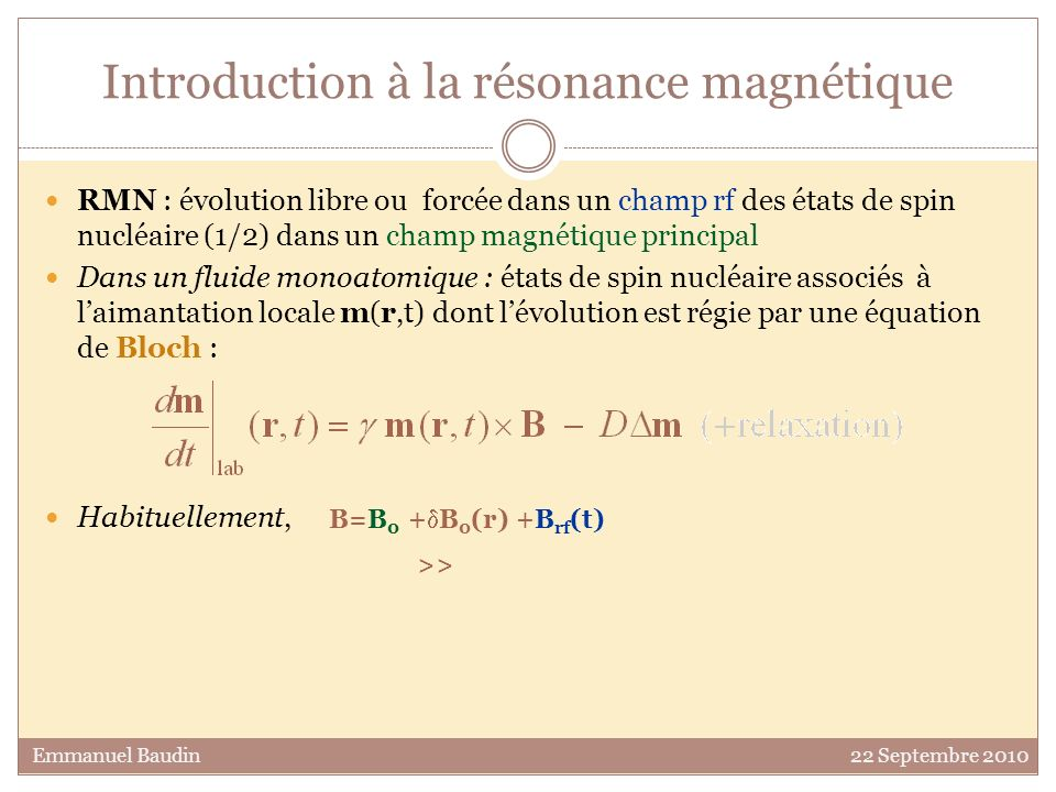 Introduction à la résonance magnétique