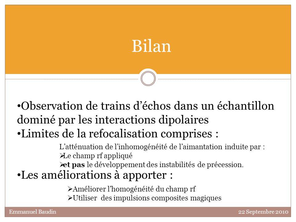 Bilan Observation de trains d'échos dans un échantillon dominé par les interactions dipolaires. Limites de la refocalisation comprises :