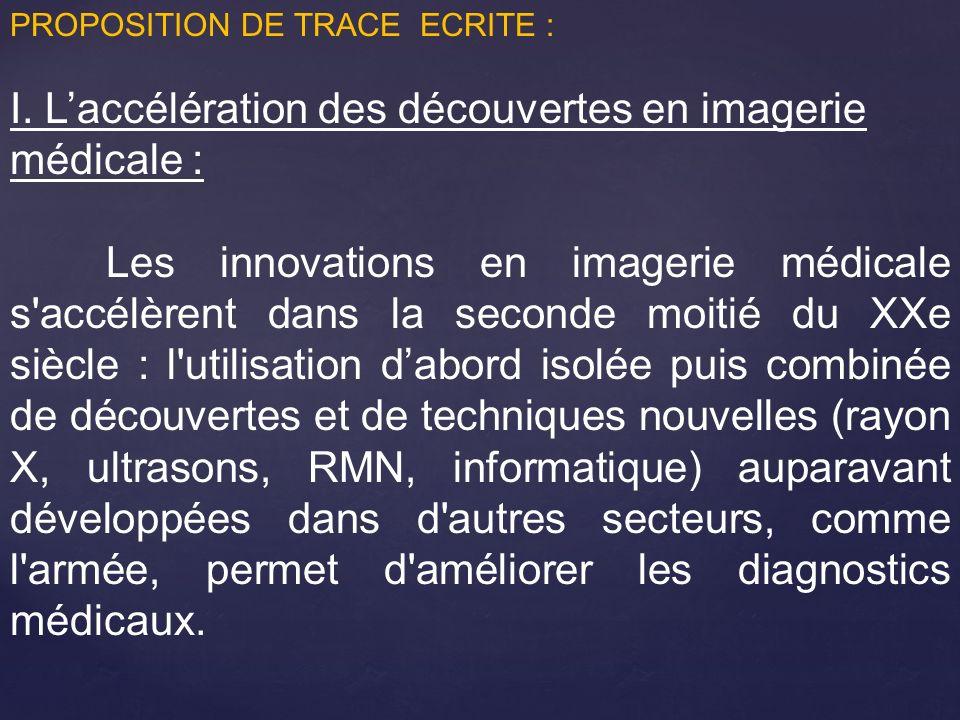 I. L'accélération des découvertes en imagerie médicale :