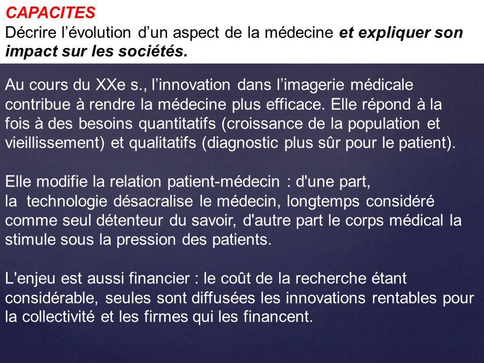 CAPACITES Décrire l'évolution d'un aspect de la médecine et expliquer son impact sur les sociétés.