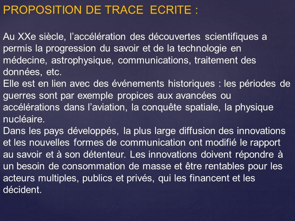 PROPOSITION DE TRACE ECRITE :