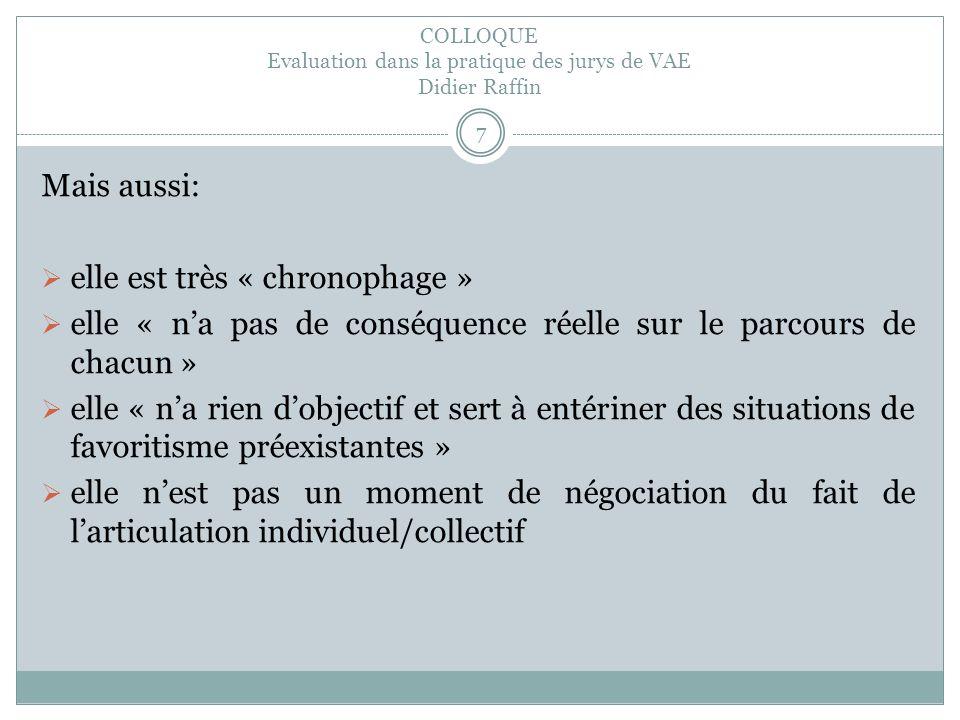 COLLOQUE Evaluation dans la pratique des jurys de VAE Didier Raffin